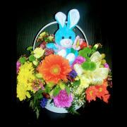 HF Easter Bunny Basket w Blue Bunny