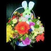 HF Easter Bunny Basket w Green Bunny