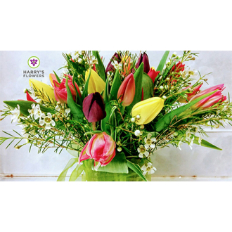 Rainbow Tulips Arrangement