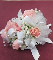 Pink And White Wrist Corsage