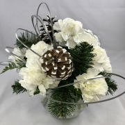 12 Carnation Centerpiece - Holiday