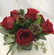 6 Rose Centerpiece - Holiday Rustic