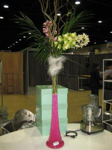 TRUPET VASE PINK WATER PEARLS ORCHID STEMS CURLY WILLOW