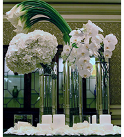 Hydrangeas, Callas and Orchids Table Center