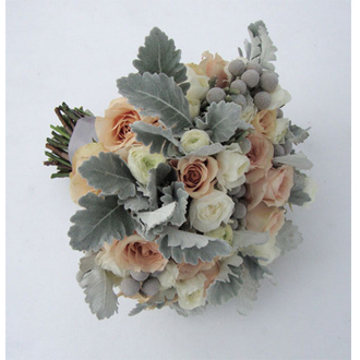 Roses and Dusty Miller Bouquet