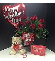 **SPECIAL** Valentines Day Dozen roses with chocolates, balloon and a bear