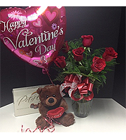 **SPECIAL** Valentines Day half a dozen roses vased, with teddy bear, balloon and chocolates.
