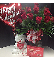 **SPECIAL** Valentines day two dozen roses with chocolates, teddy bear and balloon