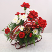 Holiday Sleigh Floral Basket