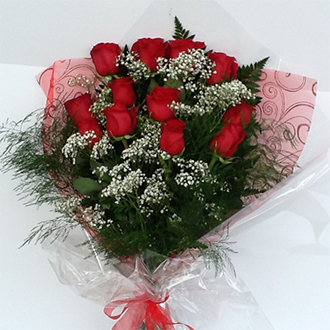 Dozen Premium Roses with Babys Breath