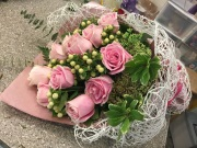MGM Gift Wrapped Pink Rose bouquet