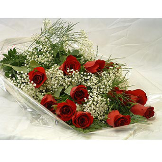 12 Roses Wrapped with Baby\'s Breath