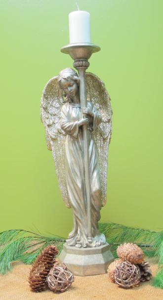 29in Pewter and Gold Angel Candle Holder