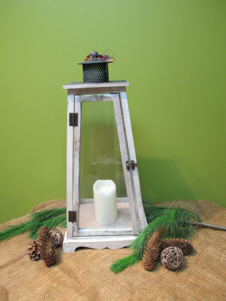 24in Wood and Glass Triangular Lantern