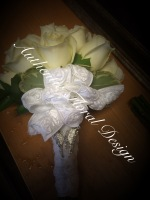 DIAMOND WHITE ROSES BRIDES BOUQUET