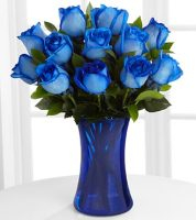 Dozen Blue Roses Vased