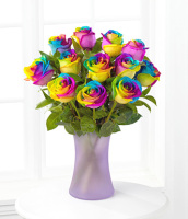 Dozen Rainbow Roses Vased