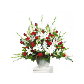 CARISMA FLORISTS® Traditional Red & White Container
