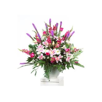 CARISMA FLORISTS® White, Pink & Mauve Container CFF-058