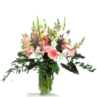 CARISMA FLORISTS® Pink, White and Mauve Vase