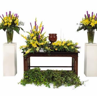 CARISMA FLORISTS® Yellow & Mauve Seasonal Centre Arrangements