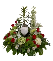 Urn Arrangement white and red flowers