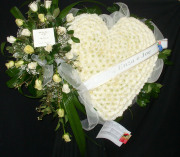 White heart with 18 white roses