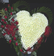 White Heart with 18 Red Roses