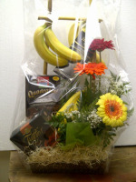 Gourmet Basket of Fruit, Flowers and Chocolate