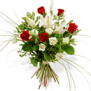 White Lillies & Red roses bouquet