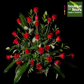Corbeille de 25 roses