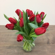Vase of Red Tulips