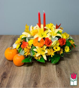 Beretania\'s Deluxe Fall Centerpiece - w/ Mini Pumpkin