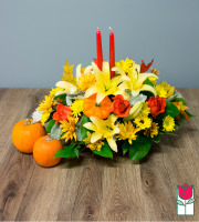 Beretania's Deluxe Fall Centerpiece - w/ Mini Pumpkin