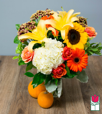 Beretania\'s Cherished Fall Bouquet- w/ Mini Pumpkin