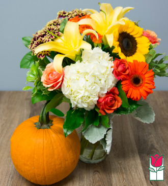 Beretania\'s Cherished Fall Bouquet- w/ Large Pumpkin