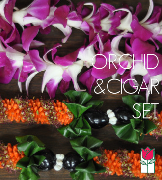 Single Dendro Orchid and Cigar Lei Set