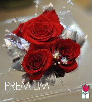 French Corsage - Red Roses with Silver - Premium