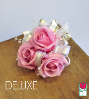 French Corsage - Lavender Roses with Silver