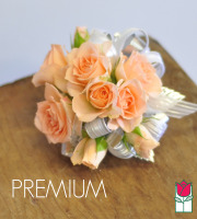 French Corsage - Peach Roses with Silver