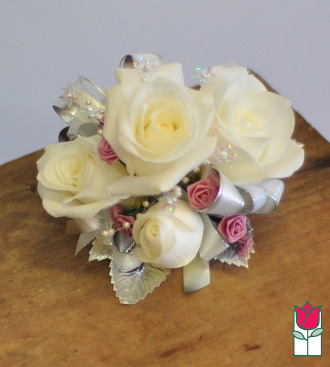 French Corsage - White Roses w/ Lavender