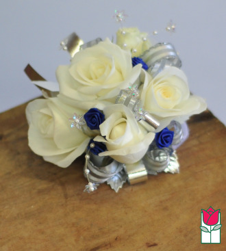 French Corsage - White Roses w/ Blue