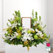 beretania florist - honolulu hawaii funeral flower delivery koa urn spray