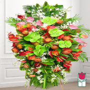 kaipo funeral Tropical wreath standing spray delivery in honolulu hawaii funeral florist flowers honolulu mortuary flower delivery