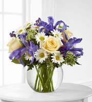 Order BUBBLE BOWL VASE filled with Mixed Fresh FLOWERS in WHITE, YELLOW, GREEN, PURPLE with Grand Rapids Sunnyslope Floral
