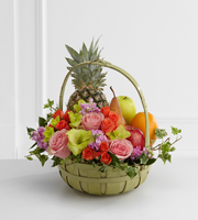 The FTD® Rest in Peace™ Fruit & Flowers Basket