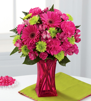 MOTHERS DAY FLOWER DELIVERY of modern bright pink spring flowers & lime mum accents in raspberry color vase, Sunnyslope Floral Grand Rapids Florist