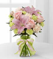 Order & send pink roses & lilies to the home, hospital or business for a new baby or any occasion with Sunnyslope Floral, your same day delivery shop