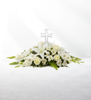 Sympathy fresh flower arrangement with keepsake cross for delivery to Cook, Arsulowicz, Heritage Life Story & Stroo funeral homes by Sunnyslope Floral