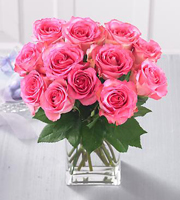 1 Dozen Medium Stem Pink Roses - with Vase
